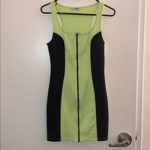Super mini like green and black zip down dress.